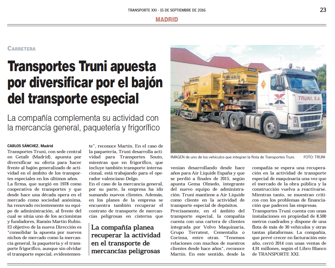 Transportes Truni Noticia